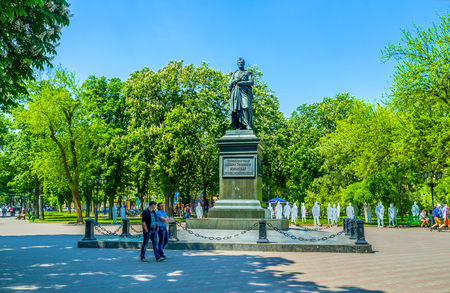 mikhail: ODESSA, UKRAINE - MAY 18, 2015: The monument to the governor of New Russia Prince Mikhail Vorontsov located in the Soborna Square next to the Cathedral, on May 18 in Odessa. Editorial