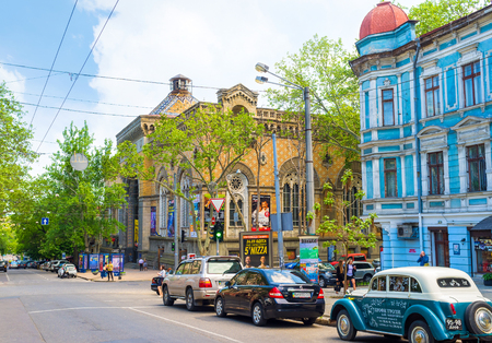 ODESSA, UKRAINE - MAY 18, 2015: The Odessa Philharmonic Theater edifice in neogothic style was originally built as the Merchants Exchange building, on May 18 in Odessa.