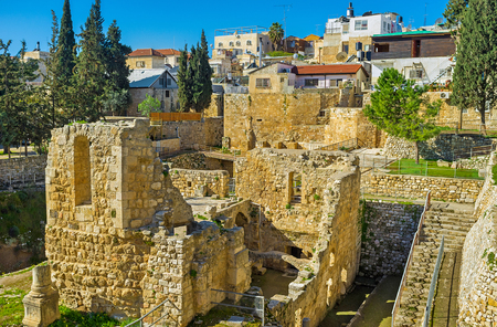 archaeological site: The walled town of Jerusalem stores the ruins of the Roman and Byzantine period at the archaeological site of Bethesda Pool, Israel.
