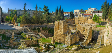 bethesda: Panorama of the Bethesda Pool archaeological site with the ruins of the Byzantine Temple, Jerusalem, Israel.