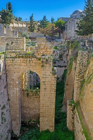 bethesda: The archaeological site of Bethesda Pool located next to the St Annes Church in Via Dolorosa street in Muslim Quarter, Jerusalem, Israel. Stock Photo