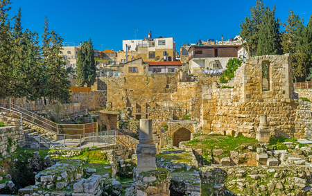 bethesda: The site next to the ancient Bethesda pool was occupied by the Roman Temple, then here was built the Byzantine Basilica, nowadays its the archaeological digs next to St Annes Church, Jerusalem, Israel. Stock Photo