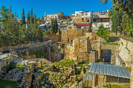 bethesda: The Roman and Byzantine ruins can be found next to St Annes Church, adjacent to the site of the Pool of Bethesda, Jerusalem, Israel.
