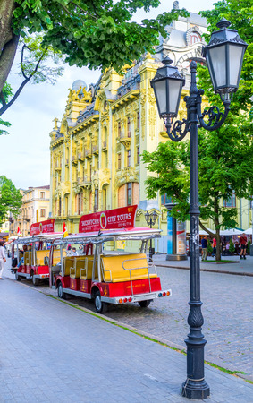 best way: ODESSA, UKRAINE - MAY 18, 2015: The best way to descover the olt city is to take the tourist train, on May 18 in Odessa.