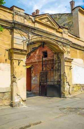 vorontsov: The gates of the courtyard of the residential house in old Odessa, Ukraine.