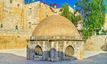 coptic orthodox: The cupola in the middle of the roof section of the Church of the Holy Sepulchre, admits light to St Helena's crypt, located below, this area belongs to the Ethiopian Monastery, Jerusalem, Israel. Stock Photo