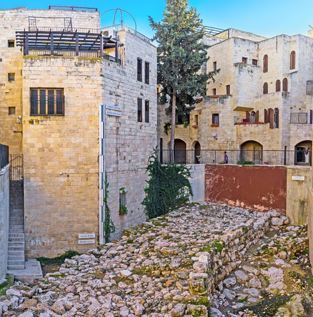 archaeological site: JERUSALEM, ISRAEL - FEBRUARY 16, 2016: The archaeological site among the residential houses of the Jewish Quarter, on February 16 in Jerusalem