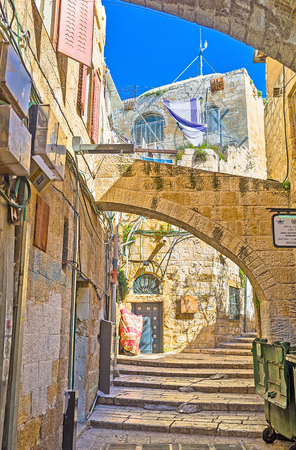 find your way: JERUSALEM, ISRAEL - FEBRUARY 16, 2016: The best way to discover the old city is to get lost in the maze of its streets and then find your way, on February 16 in Jerusalem.