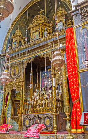 way of st  james: JERUSALEM, ISRAEL - FEBRUARY 16, 2016:  The visiting of St James Cathedral in Armenian Quarter is the best way to enjoy the medieval art and architecture of the Orthodox temples, on February 16 in Jerusalem.
