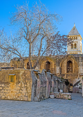 coptic orthodox: The Ethiopian monks huts, located on the the rooftop of the Church of the Holy Sepulchre among the ruins of a medieval Crusader Monastery, Jerusalem, Israel. Stock Photo