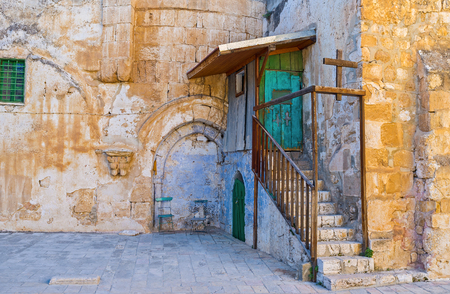 coptic orthodox: The entrance to the Ethiopian Monastery, located on the roof of the Church of the Holy Sepulchre, Jerusalem, Israel.