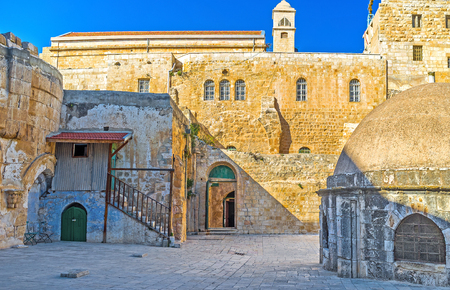 coptic orthodox: The facade wall of the Ethiopian Monastery (Deir El-Sultan), located on the rooftop of the Church of the Holy Sepulchre, Jerusalem, Israel.