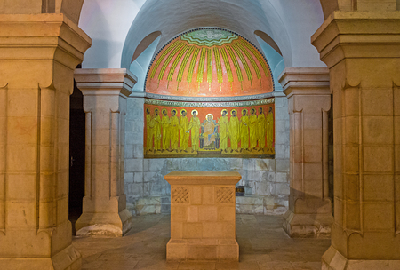 crypt: JERUSALEM, ISRAEL - FEBRUARY 16, 2016:  The altar in crypt of the  Dormition Church decorated with the mosaic icon, on February 16 in Jerusalem. Editorial