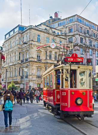 tunel: ISTANBUL, TURKEY - JANUARY 22, 2015: The Tunel is the last tram station in Independence Avenue, here the tram change direction and ride back to Taksim Square, on January 22 in Istanbul.