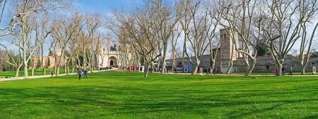 garden city: ISTANBUL, TURKEY - JANUARY 21, 2015: The outer courtyard of Topkapi Palace is the best place to walk among the greenery in the center of the city, on January 21 in Istanbul. Editorial