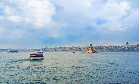 best way: The trip on Bosphorus is the best way to relax and enjoy the city from the water, Istanbul, Turkey.