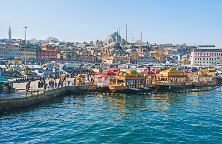 city fish market: ISTANBUL, TURKEY - JANUARY 21, 2015: The Eminonu promenade and historic neighborhood is one of the most tourist places in city, on January 21 in Istanbul.