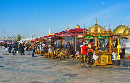 city fish market: ISTANBUL, TURKEY - JANUARY 21, 2015: The Eminonu promenade is the best place to relax in floating restaurant or drink tea in the cozy outdoor cafe, adjacent to the Golden Horn Bay, on January 21 in Istanbul.