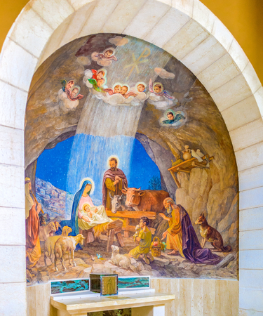 adoration: BETHLEHEM, PALESTINE - FEBRUARY 18, 2016: The fresco depicting a biblical scene of adoration of the shepherds, on February 18 in Bethlehem.