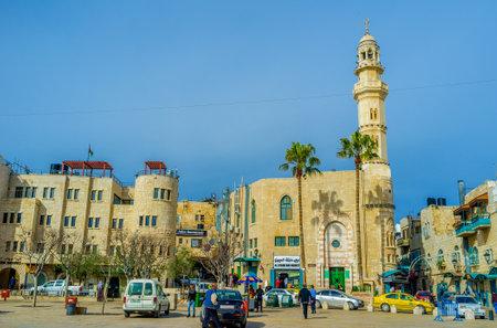 pesebre: Belén, Palestina - 18 de febrero, 2016: El cuadrado del pesebre es el cuadrado lógico de la ciudad con todos los puntos de referencia alrededor de ella, el 18 de febrero en Belén. Editorial