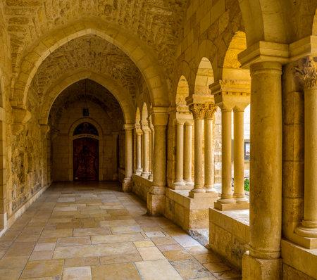 bethlehem: BETHLEHEM, PALESTINE - FEBRUARY 18, 2016: The covered terrace that leads to the Franciscan Monastrery, on February 18 in Bethlehem. Editorial