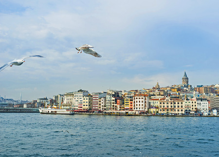 beyoglu: The view on promenade of the Beyoglu district, topped by medieval Galata Tower, Istanbul, Turkey.