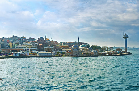 pearl tea: The Uskudar embankment with the old mosques, cozy cafes and tea houses is the pearl of the Asian side of the city, Istanbul, Turkey.