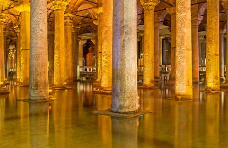 cistern: ISTANBUL, TURKEY - JANUARY 21, 2015: The  ancient Basilica Cistern is the waterproof receptacle for holding water, on January 21 in Istanbul.