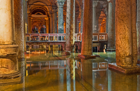slaves: ISTANBUL, TURKEY - JANUARY 21, 2015: The Hens eye column, decorated with carved eyes and tears -  tribute to the slaves who died, constructing the Basilica Cistern, on January 21 in Istanbul. Editorial