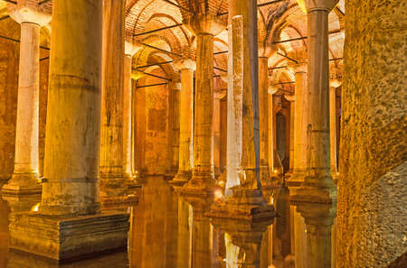 cistern: ISTANBUL, TURKEY - JANUARY 21, 2015: The   Basilica Cistern is oneof the most interesting landmarks of the city, preserved since the Roman Age, on January 21 in Istanbul.