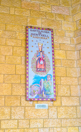 nazareth: NAZARETH, ISRAEL - FEBRUARY 21, 2016: The beautiful glazed panel of Madonna and the child from Andorra located in the arcade of the Basilica of Annunciation, on February 21 in Nazareth. Editorial