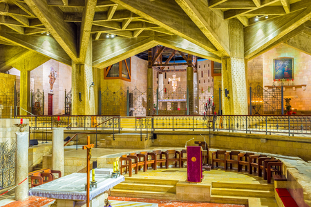 bible altar: NAZARETH, ISRAEL - FEBRUARY 21, 2016: The  altar of the Grotto of the Annunciation in the lower level of the Basilica of Annunciation, on February 21 in Nazareth. Editorial