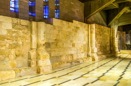 annunciation of mary: The ruined walls of medieval churches are located in the lower level of the Basilica of Annunciation in Nazareth, Israel.