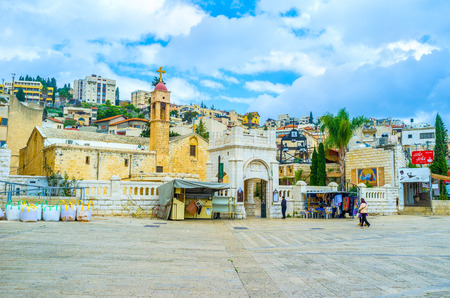 nazareth: NAZARETH, ISRAEL - FEBRUARY 21, 2016: The Greek Orthodox Church of Annunciation was built on the place where Virgin Mary had got the annunciation, on February 21 in Nazareth.