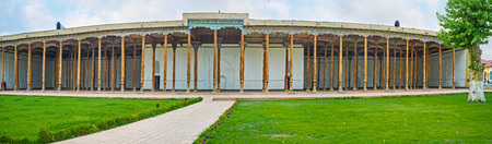 unusually: Panorama of the iwan of the Friday Mosque, that is unusually large and includes 98 pillars, supporting the roof, Kokand, Uzbekistan.