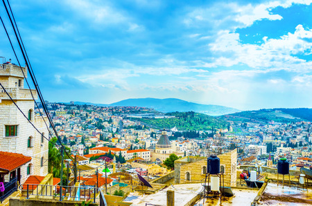 The view on the central part of the Nazareth with its main landmark Basilica of the Annunciation, Israel.