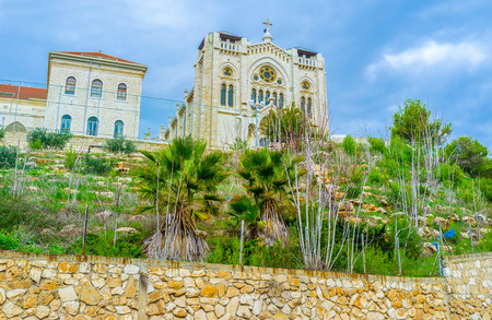 vocational high school: The Selesian Church of Jesus the Adolescent located on the top of the highest hill in Nazareth, Israel. Stock Photo