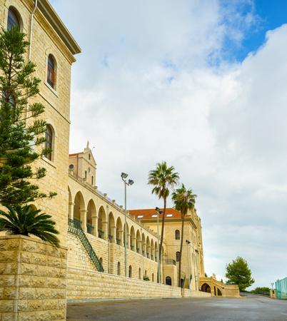 bosco: The courtyard of the Don Bosco vocational high school on the top of the hill in Nazareth, Israel.