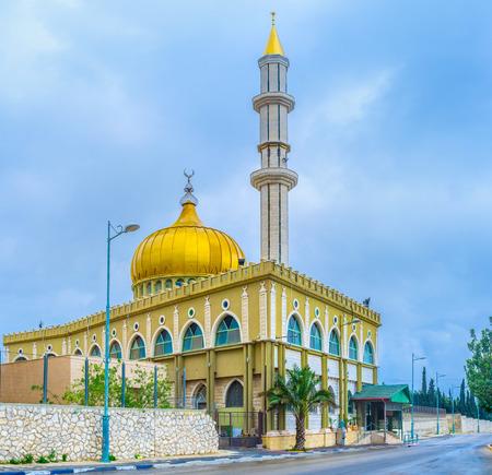 sain: The beautiful Makam Al-Nabi Sain Mosque is a fine example of islamic architecture of XXI century, Nazareth, Israel.