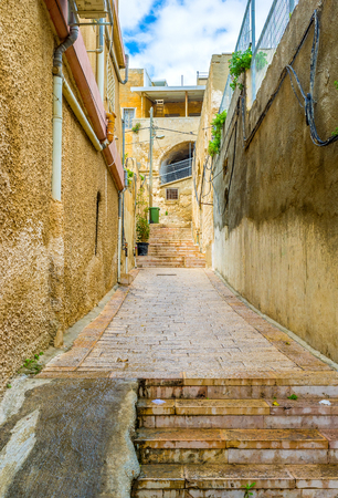 staircases: The best way to discover the old town is to get lost in maze of sterrts, lanes and staircases, Nazeret, Israel.