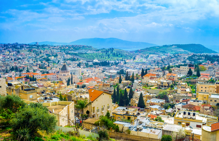 nazareth: The view on old Nazareth from the top of the hill, Israel.