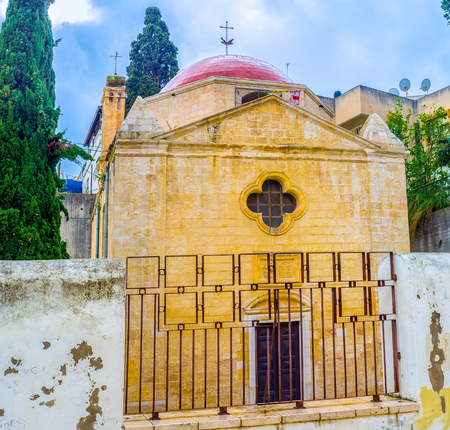 frontage: The view on the frontage of the Mensa Christi church, that located in maze of streets in old town of Nazareth, Israel. Stock Photo