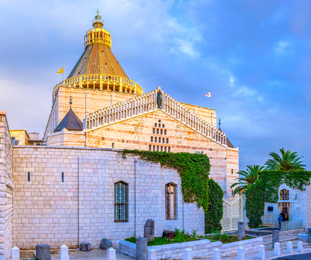 The view on the Basilica on Annunciation of Nazareth in evening lights, Israel.