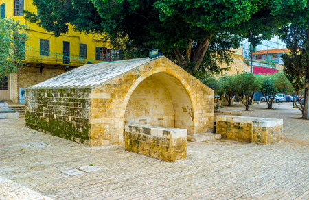 nazareth: The Well, where Virgin Mary took water nowadays located in the Well Square in Nazareth, Israel.