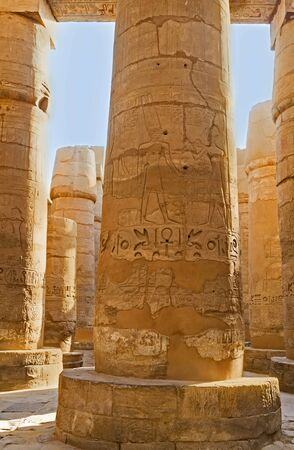 descendants: The columns of Hypostyle Hall contain hieroglyphic inscriptions and pictures, made in honor of Seti I and his descendants, Karnak Temple, Luxor, Egypt. Stock Photo