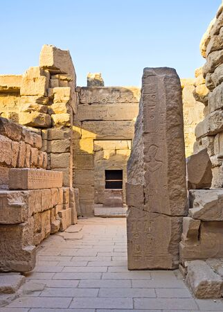 chambers: The side chambers of Khonsu Temple with the remains of reliefs on the walls, Karnak Complex, Luxor, Egypt.