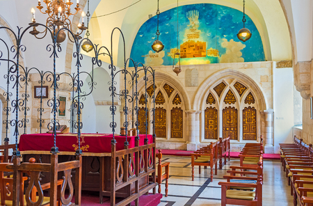 sephardic: JERUSALEM, ISRAEL - FEBRUARY 18, 2016: The prayer hall of Yochanan ben Zakai Synagogue, one of Four Sephardic Synagogues complex, on February 18 in Jerusalem. Editorial