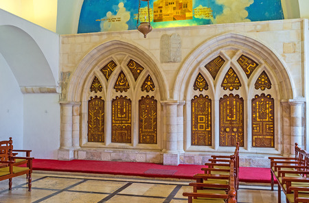 synagogues: JERUSALEM, ISRAEL - FEBRUARY 18, 2016: The double ark in the eastern wall of the Yohanan Ben Zakkai Synagogue, of Four Sephardic Synagogues complex, on February 18 in Jerusalem.