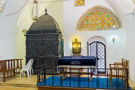 synagogues: JERUSALEM, ISRAEL - FEBRUARY 18, 2016: The Eliyahu Hanavi synagogue is the oldest among Four Sephardic Synagogues and mainly served for study Torah, on February 18 in Jerusalem.