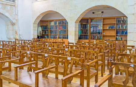 synagogues: JERUSALEM, ISRAEL - FEBRUARY 18, 2016: The Eliyahu Hanavi synagogue with a lot of books in book shelves for study, Four Sephardic Synagogues complex, on February 18 in Jerusalem. Editorial